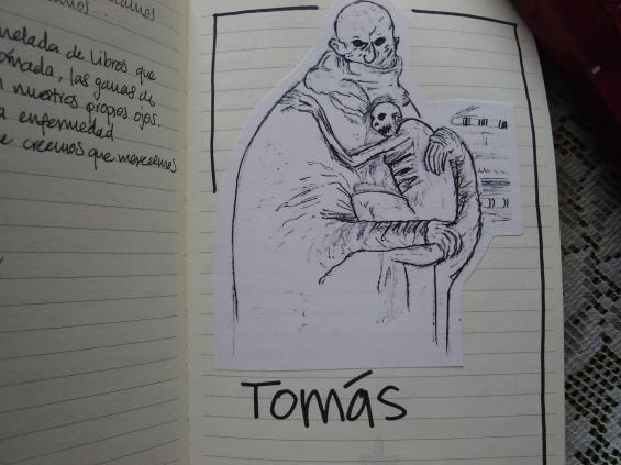 Esto es una copia fotostática de un dibujo que copié a mano de un libro, que luego vine a pegar al Libro Rojo. Después de un sueño vi la cara de Tomás y se parecía más o menos a esto.