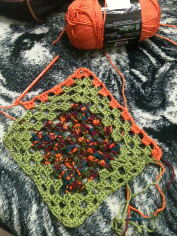 Granny squares, three colors
