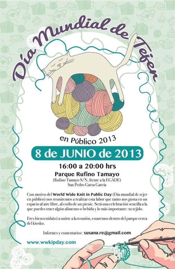 Día Mundial de Tejer en Público. Poster hecho por Vhana Trejo.